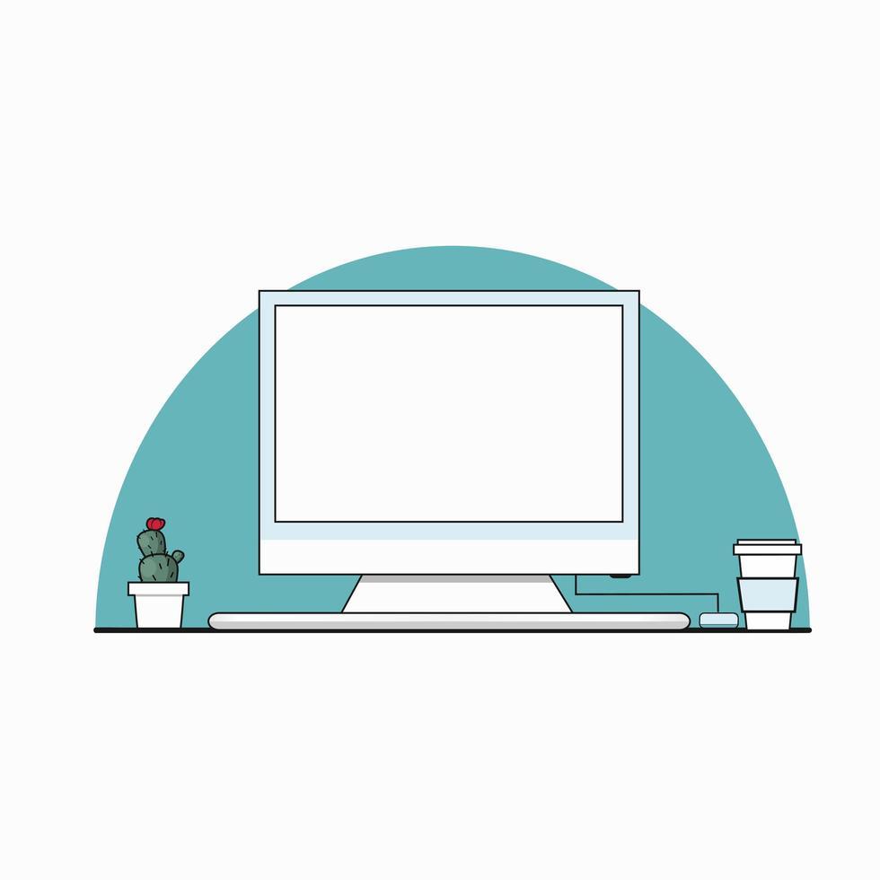 espace de travail avec ordinateur, tasse à café, cactu vecteur