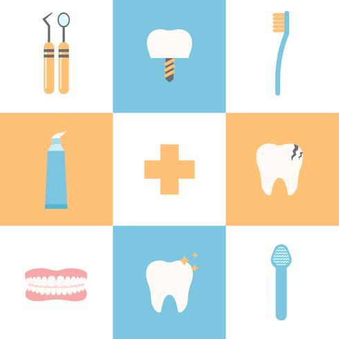 Icônes vectorielles de soins dentaires gratuits vecteur