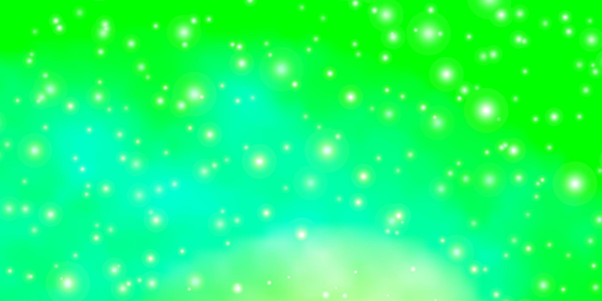 fond vert clair avec de petites et grandes étoiles. vecteur
