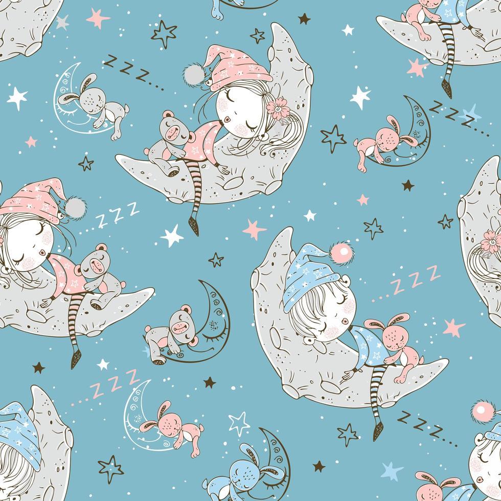 enfants en pyjama dormant sur la lune lunaire. vecteur