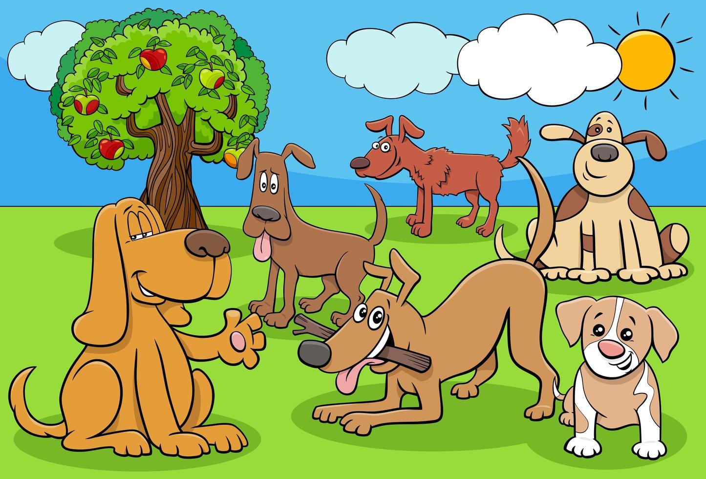 Groupe de personnages de dessins animés de chiens et chiots drôles vecteur