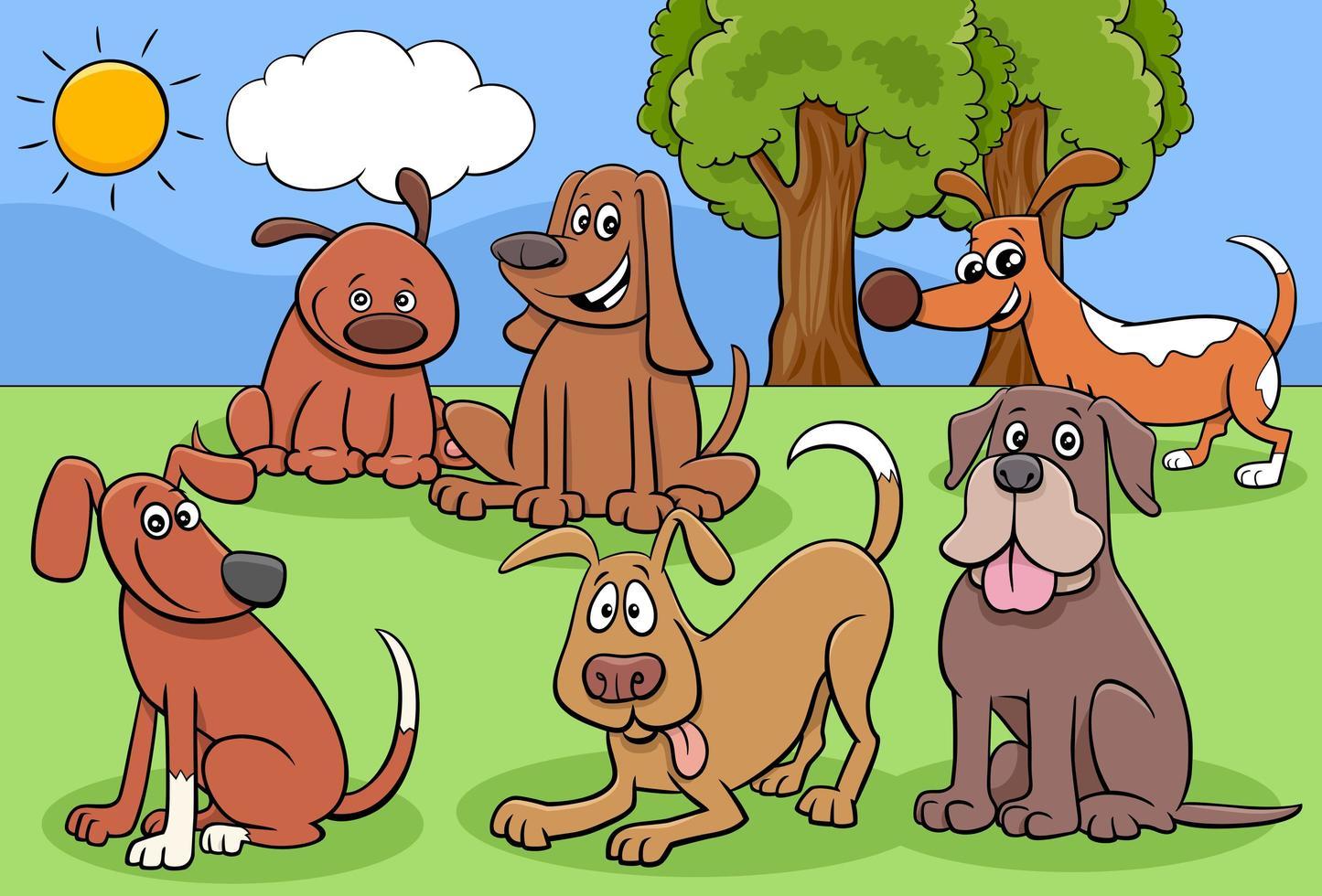 groupe de personnages de chiens et chiots de dessin animé vecteur