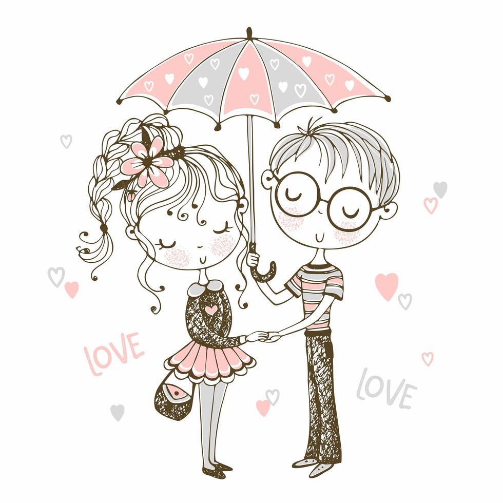 mignon garçon et fille sous le parapluie. rendez-vous vecteur
