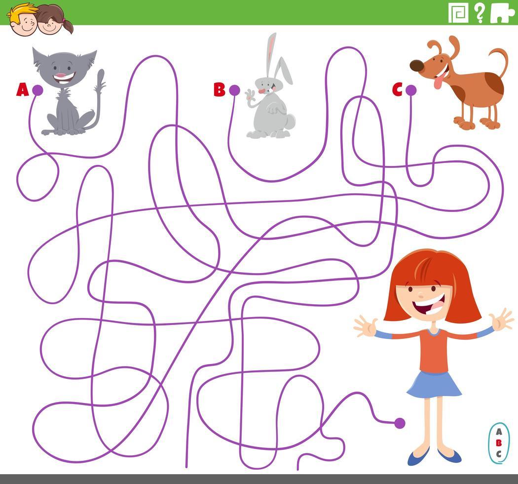 jeu de labyrinthe avec des personnages de filles et d'animaux de compagnie vecteur