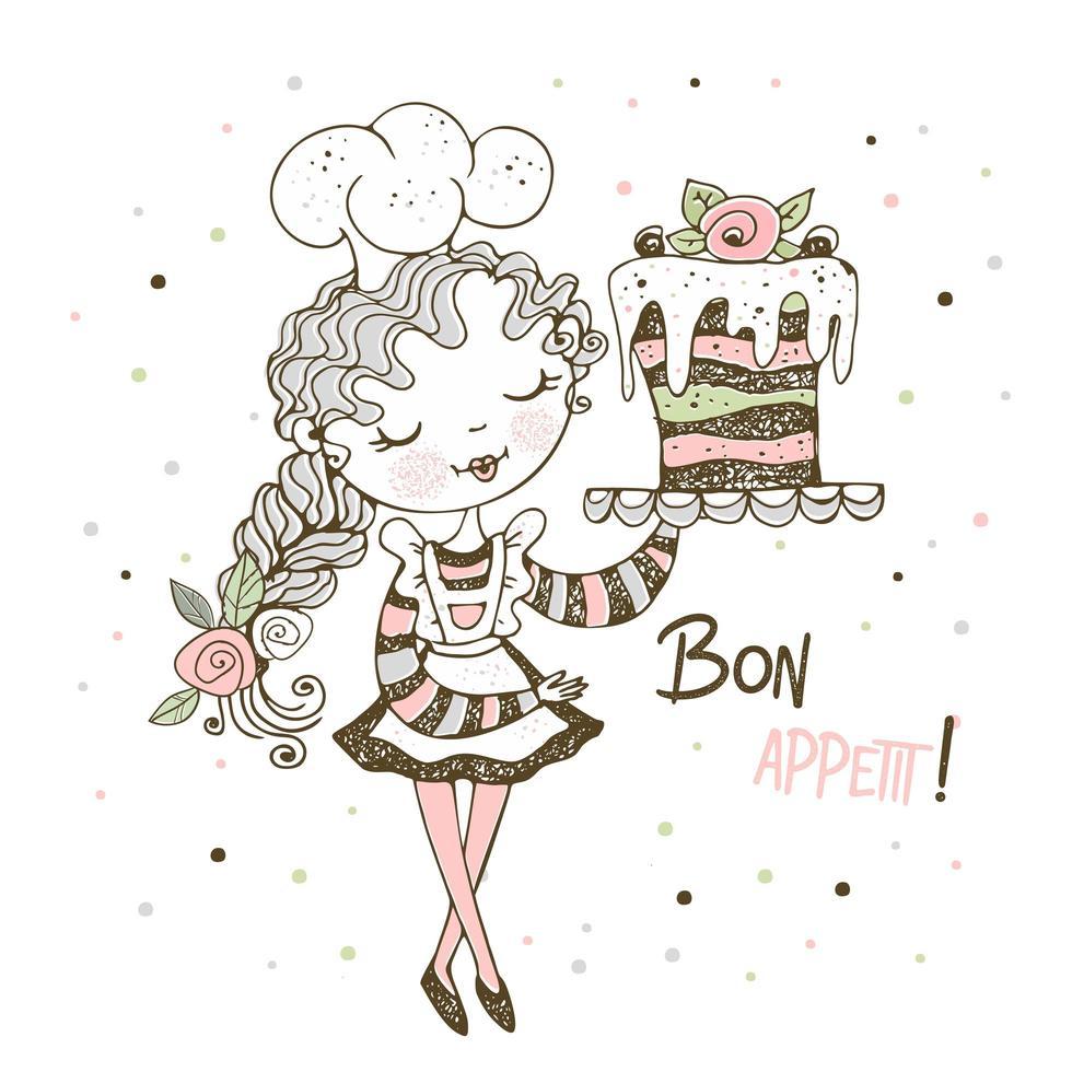 jolie fille pâtissière cuire un gâteau vecteur