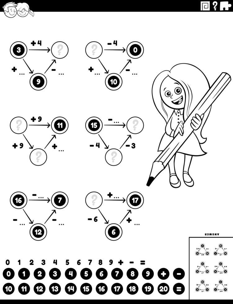 page de feuille de calcul des tâches éducatives de calcul vecteur