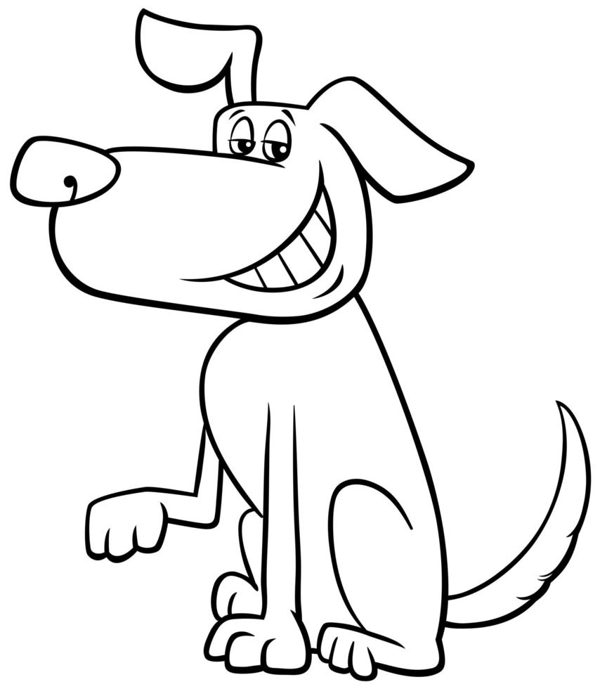 Page de livre de coloriage de personnage de dessin animé drôle de chien vecteur