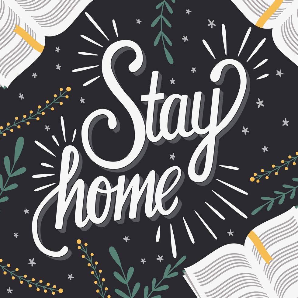 rester à la maison lettrage à la main avec des livres vecteur