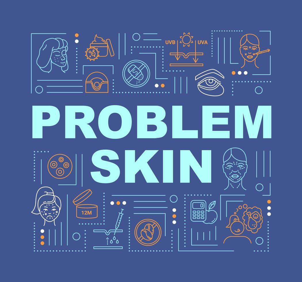 bannière de concepts de mot peau problème. vecteur