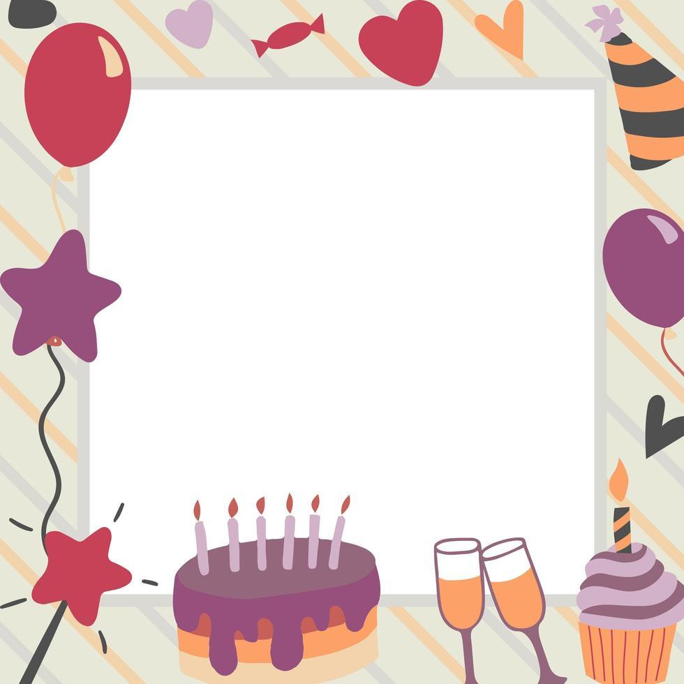 fond d'éléments de fête joyeux anniversaire vecteur