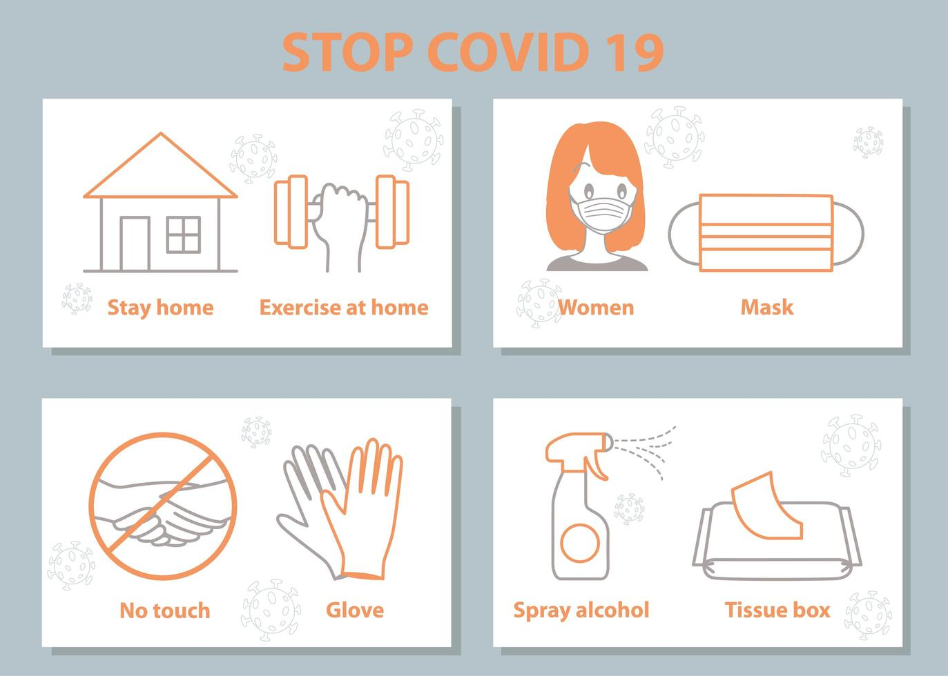 ensemble de mesures de sécurité du virus corona covid-19 vecteur