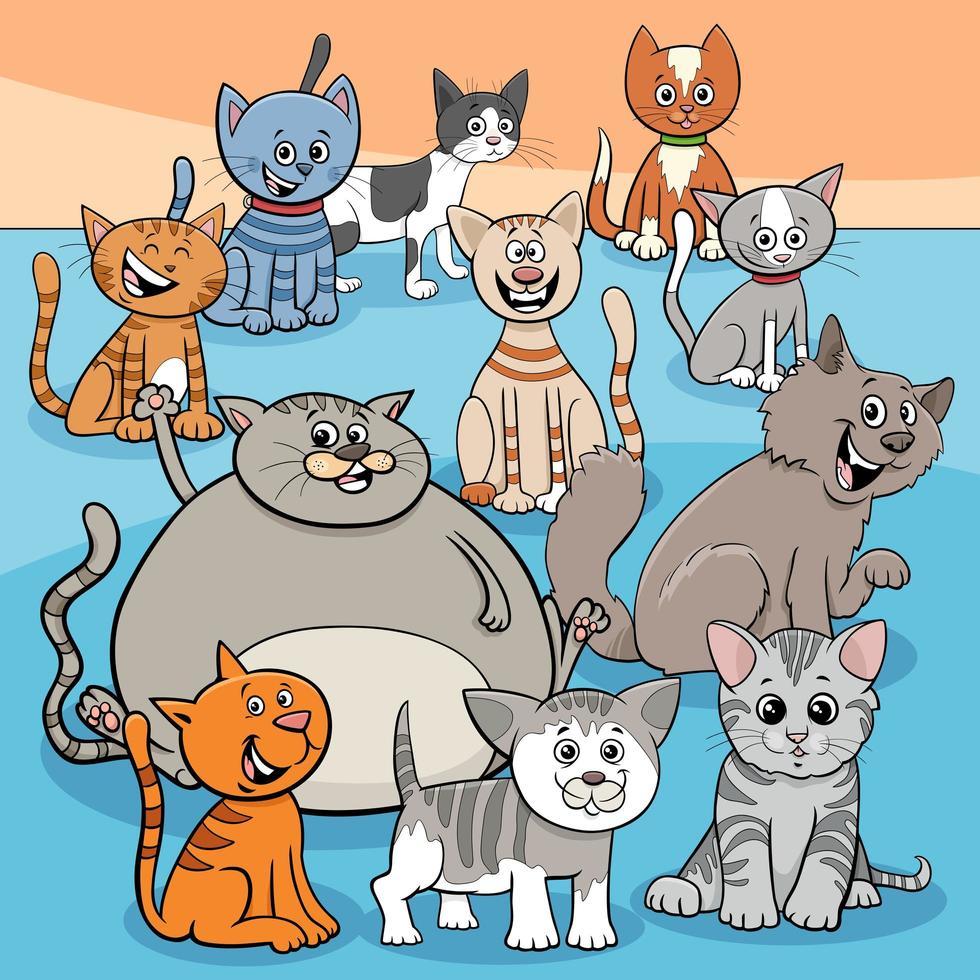 dessin animé de groupe de chats heureux vecteur