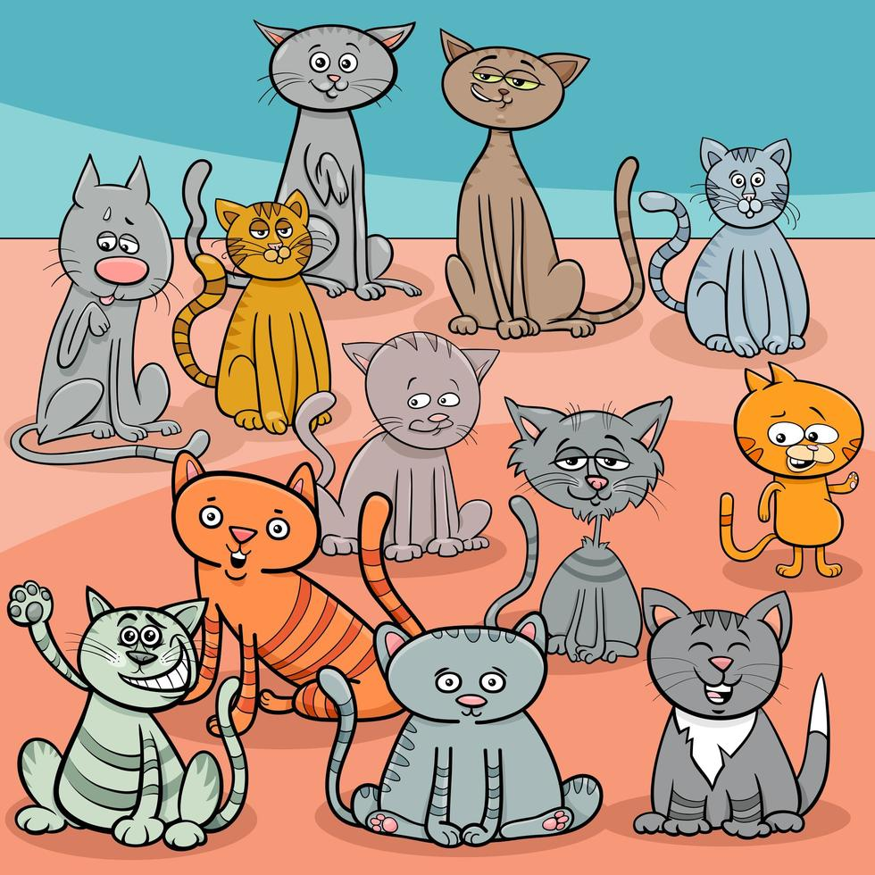 dessin animé drôle de groupe de chats vecteur