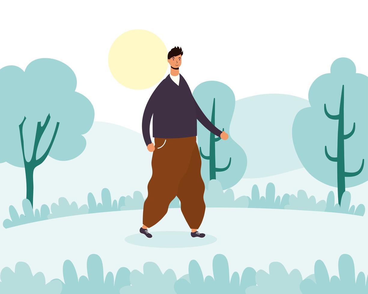 jeune homme marchant à l'extérieur vecteur