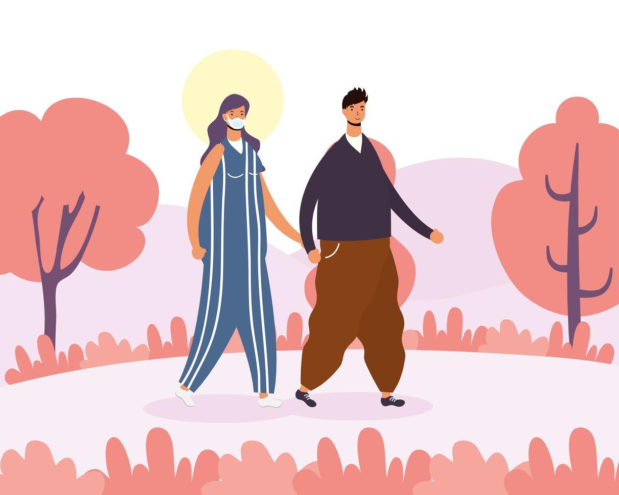 jeune couple marchant à l'extérieur vecteur