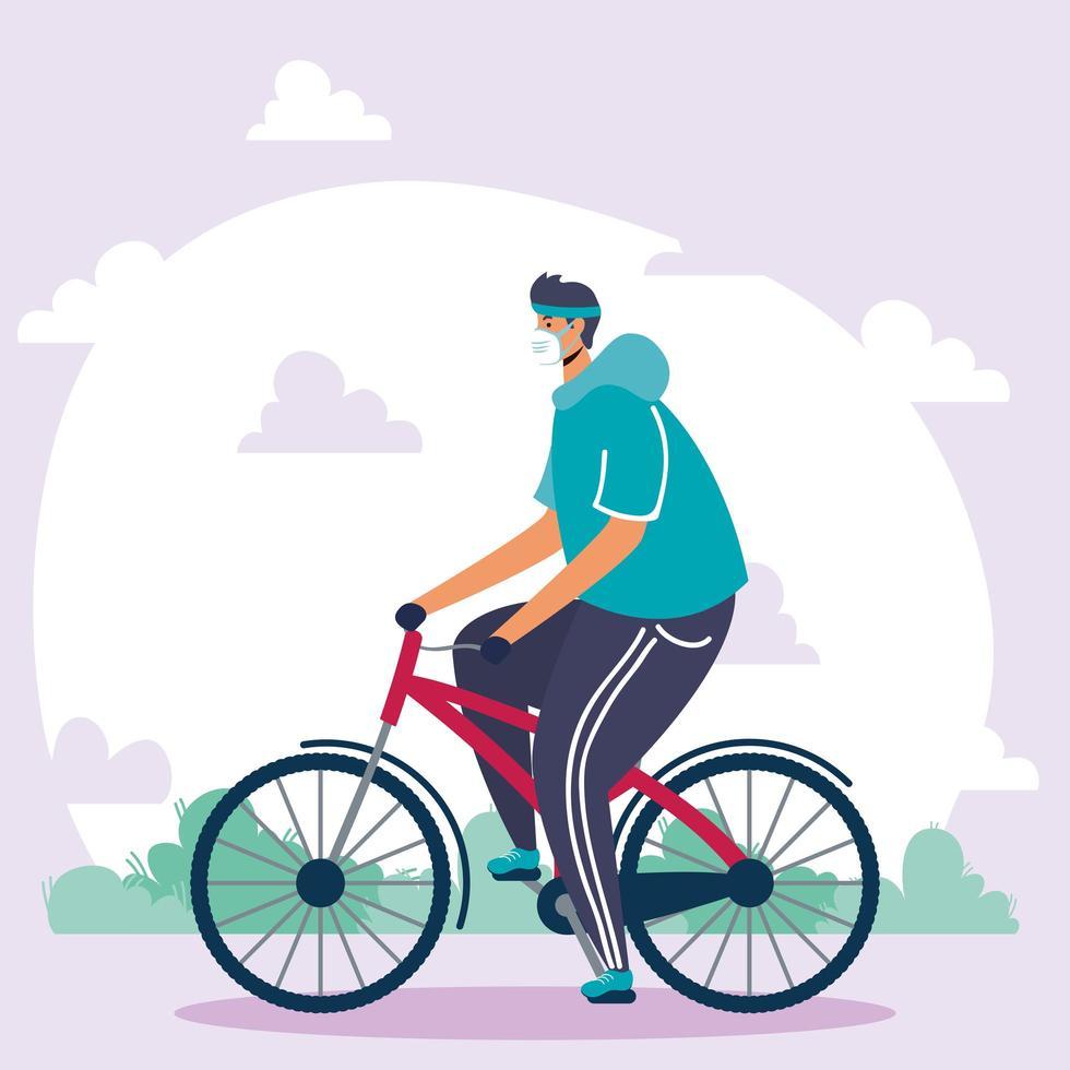 homme avec masque facial, faire du vélo à l'extérieur vecteur