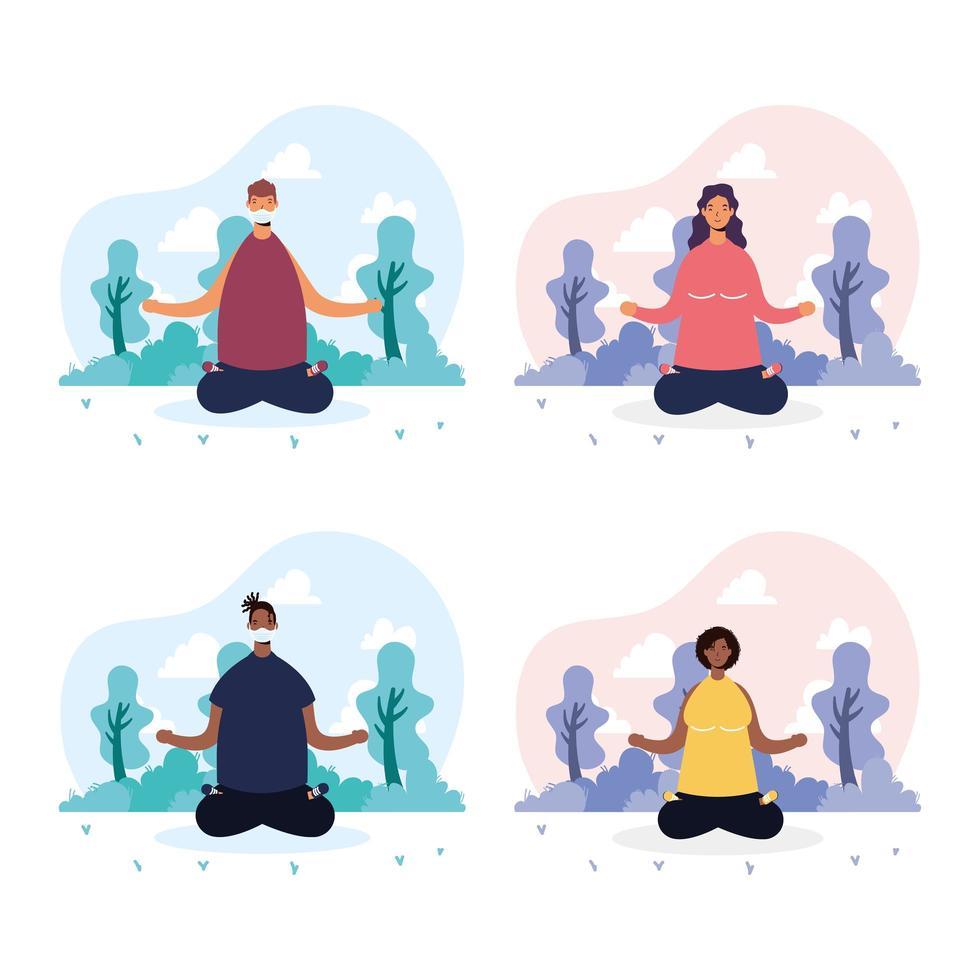 personnes faisant du yoga dans le parc vecteur