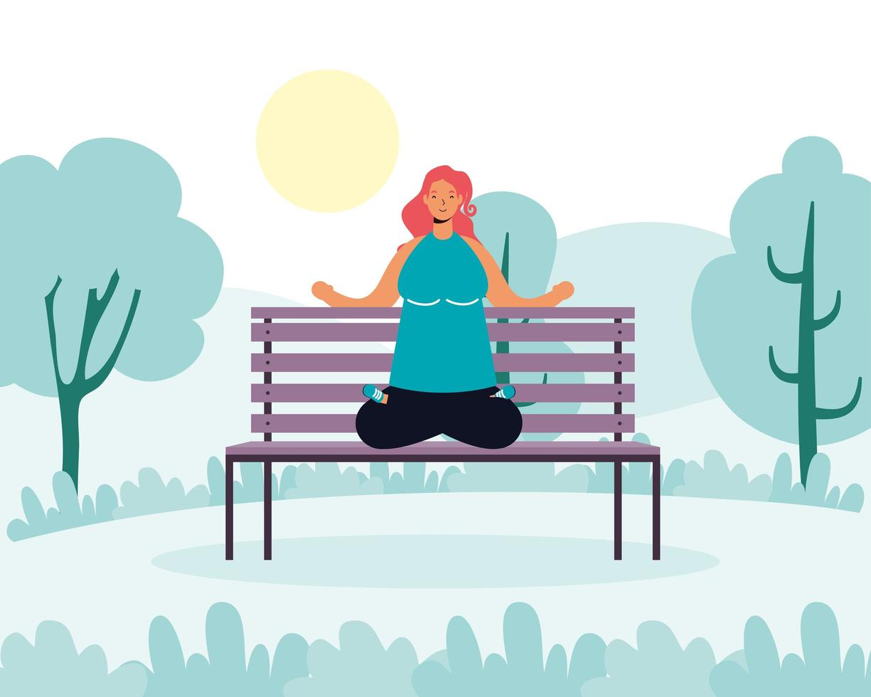 femme pratiquant le yoga dans le parc vecteur