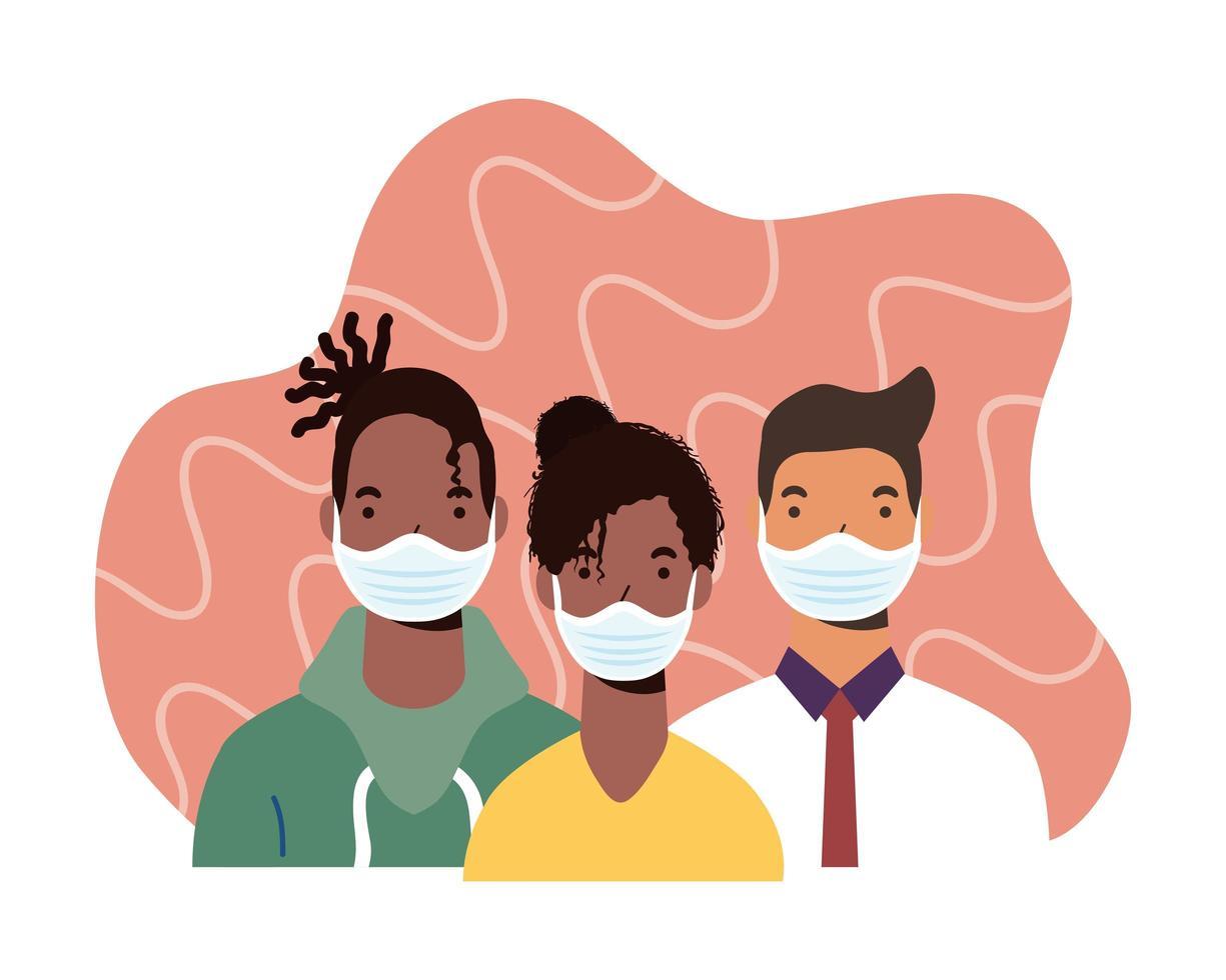 Personnages de personnes de la diversité portant des masques faciaux vecteur