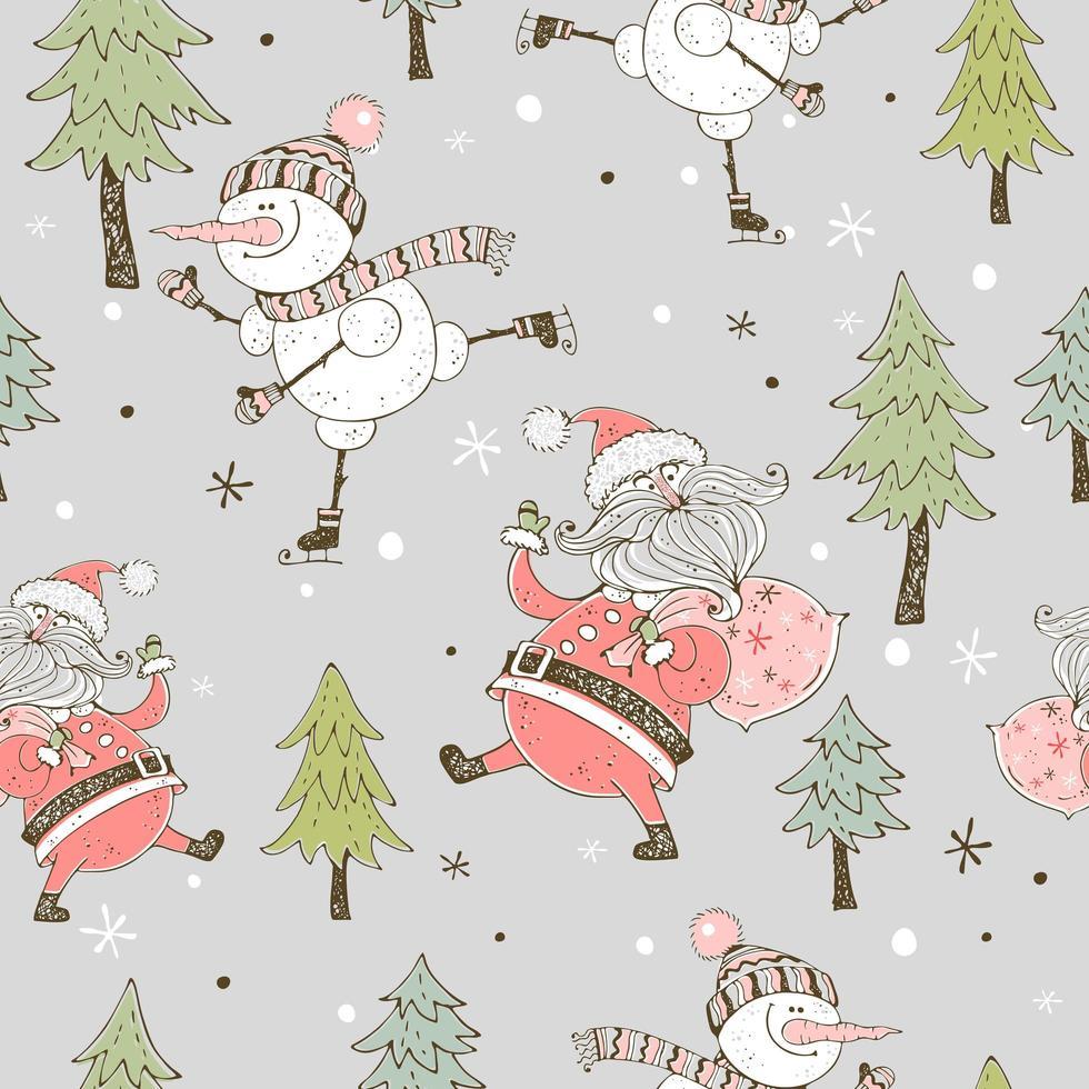 un bonhomme de neige joyeux patinage sur glace. carte de Noël vecteur