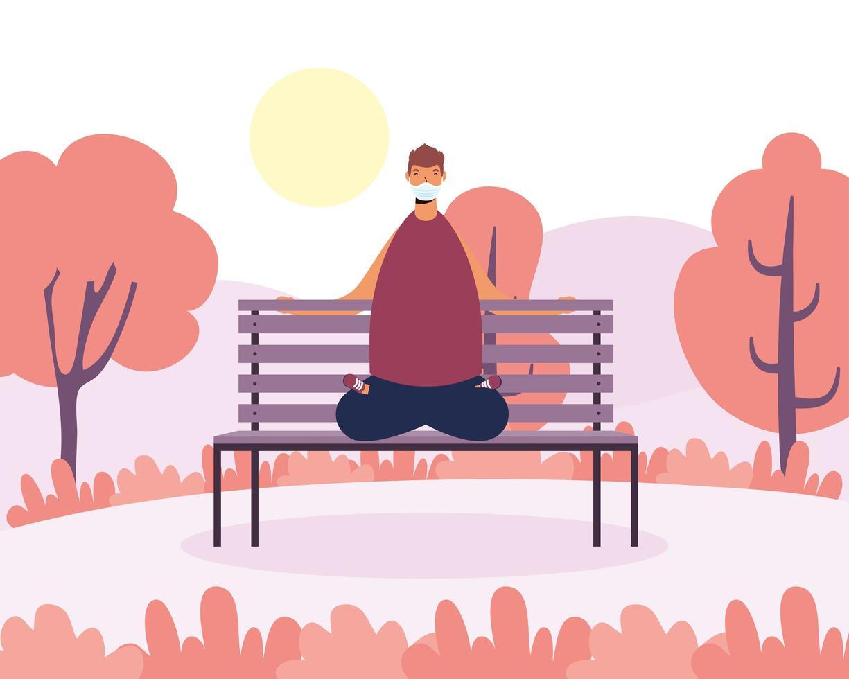 homme pratiquant le yoga dans le parc vecteur