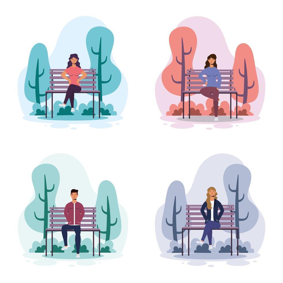 jeunes assis sur la chaise de parc vecteur