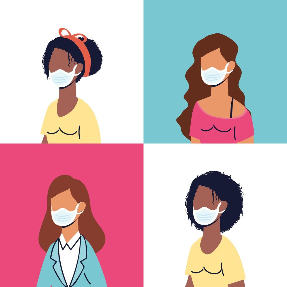 divers personnages féminins portant des masques faciaux vecteur