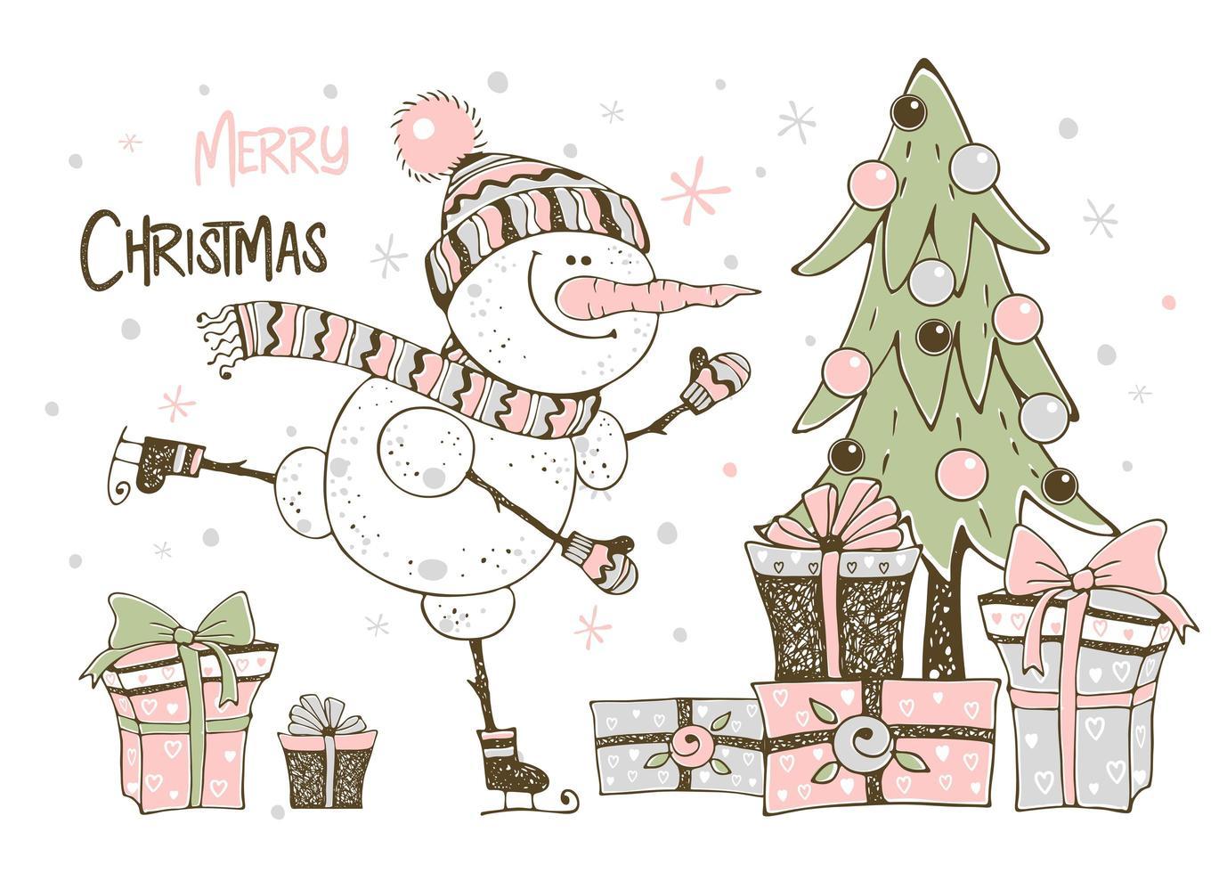 carte de noël avec bonhomme de neige arbre de noël et cadeaux vecteur