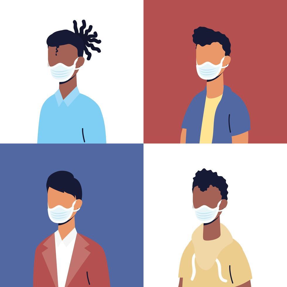divers personnages masculins portant des masques faciaux vecteur
