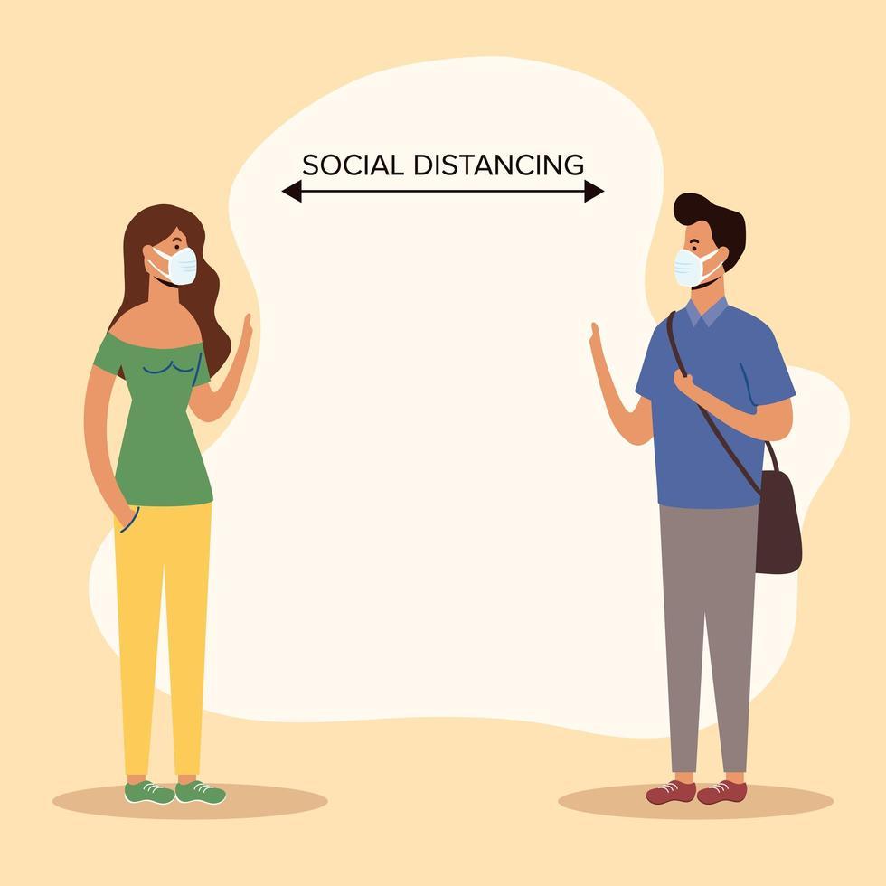 les gens à distance sociale avec des masques faciaux vecteur