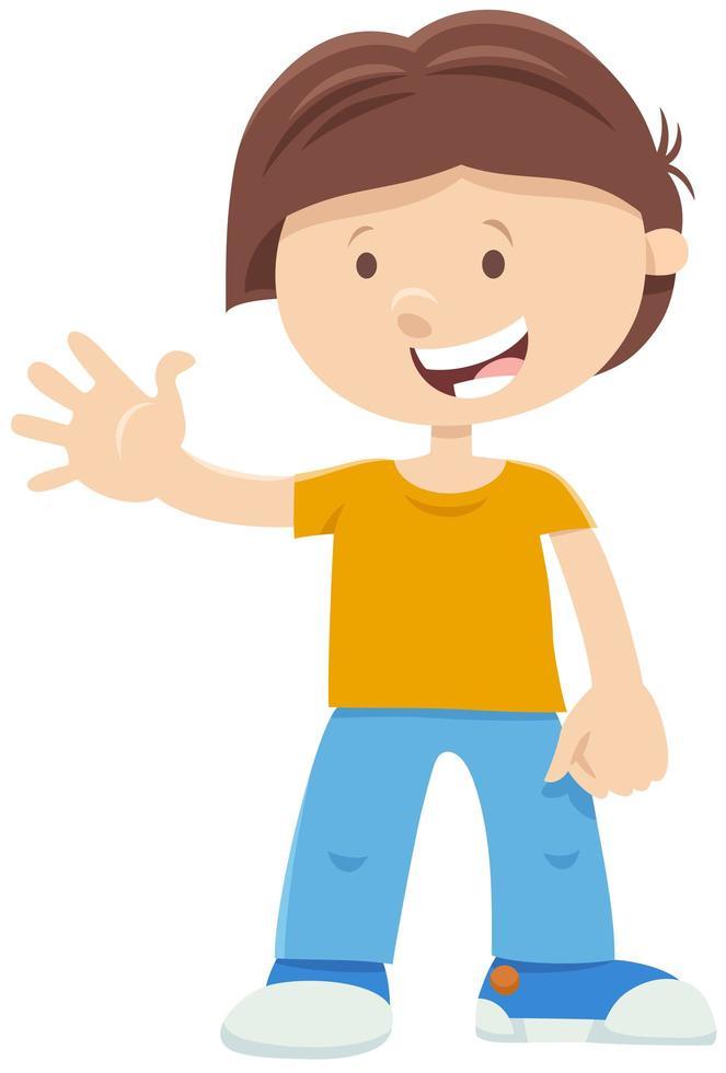 personnage de dessin animé garçon heureux vecteur