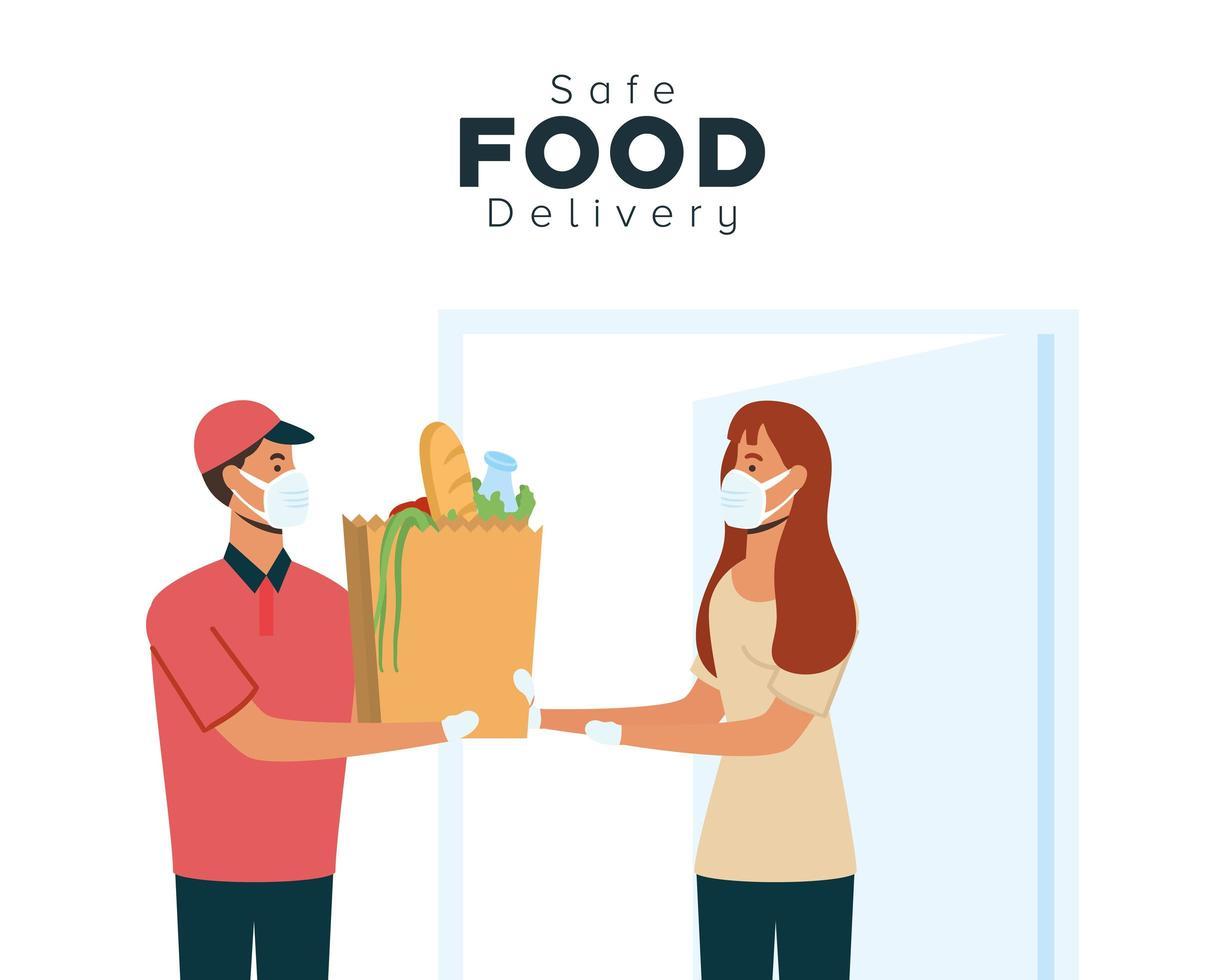 concept de livraison de nourriture sûre vecteur