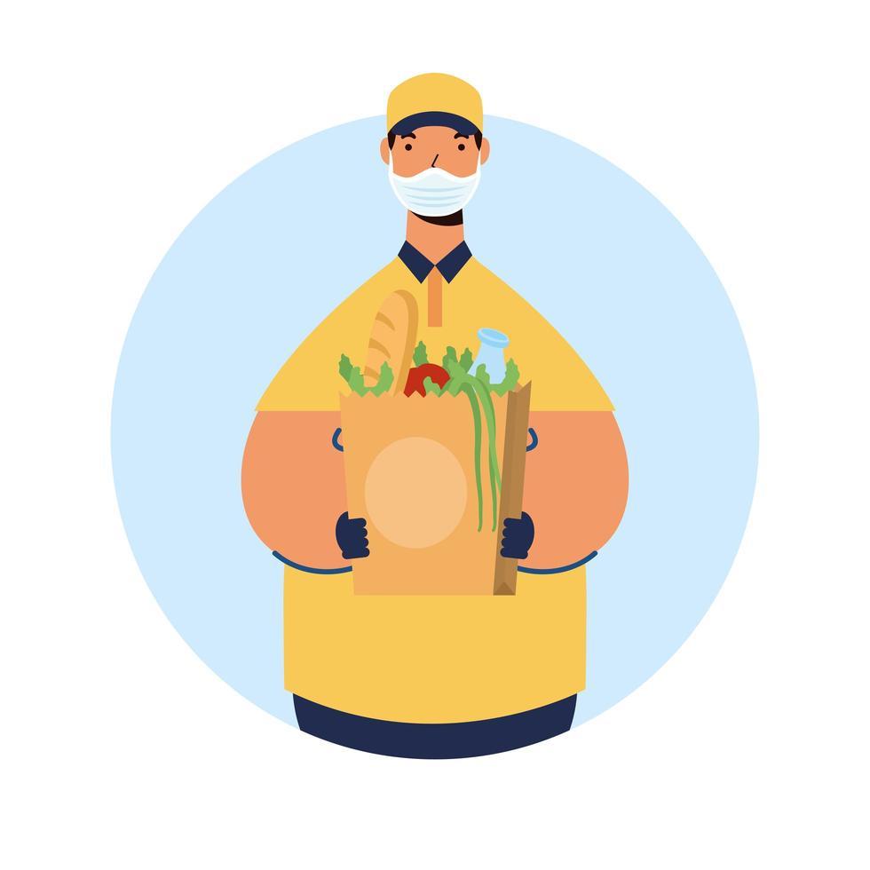 livraison de nourriture sûre avec un travailleur masculin vecteur