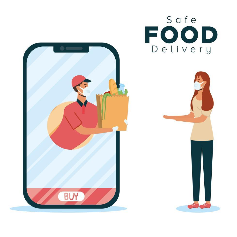 concept de livraison de nourriture sûre avec smartphone vecteur