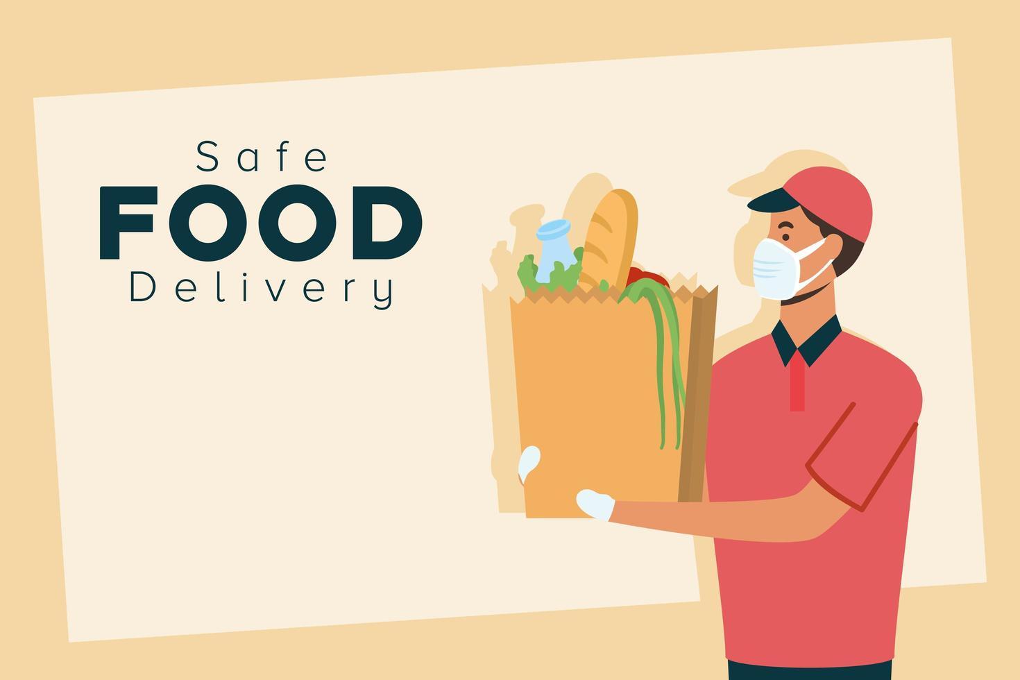 bannière de concept de livraison de nourriture sûre vecteur