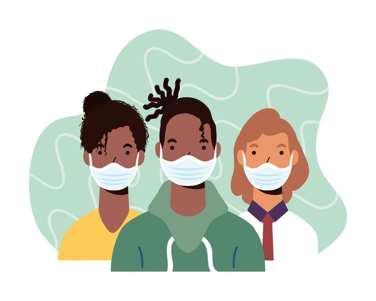 personnages de personnes diverses portant des masques faciaux vecteur