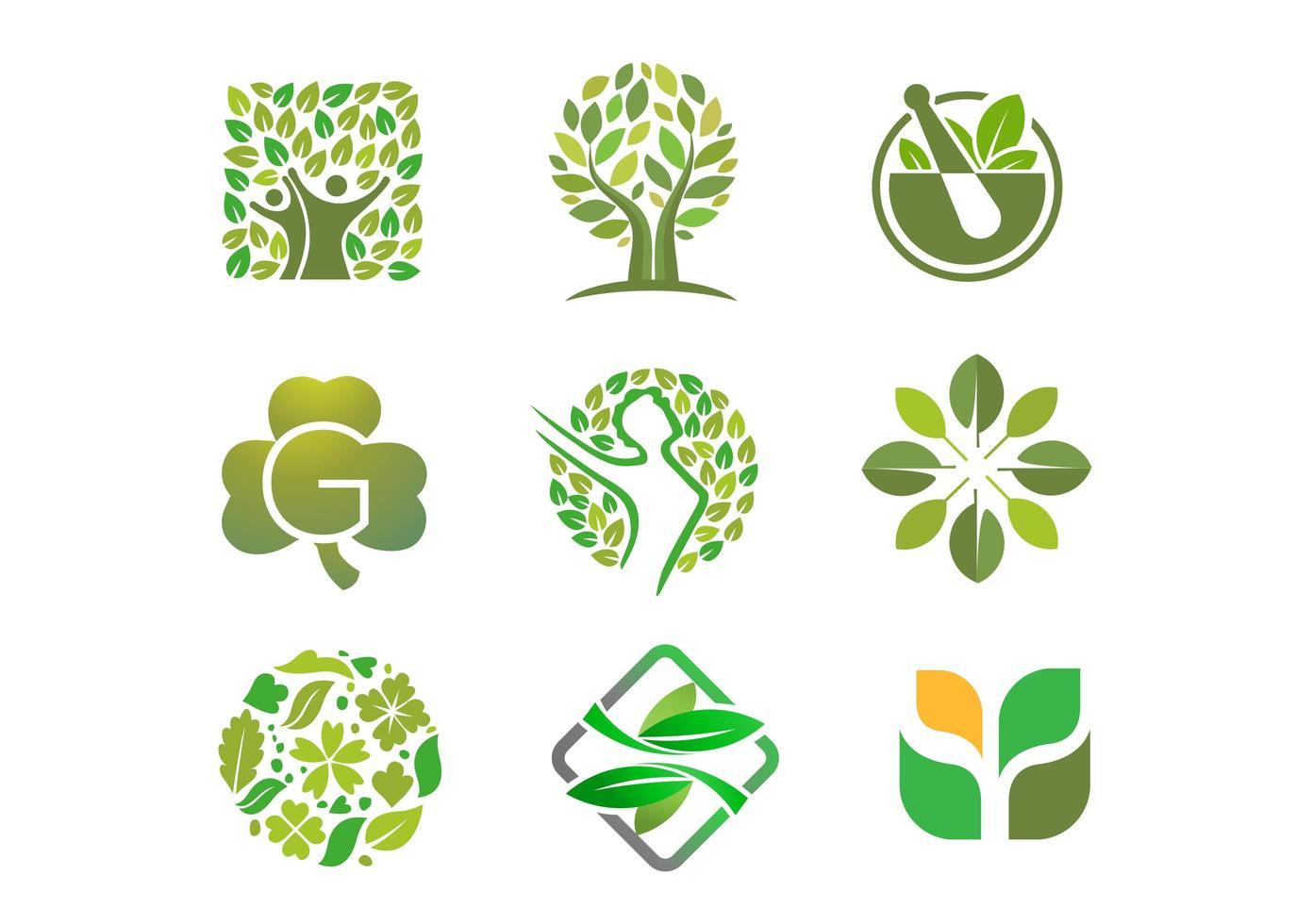 collection de logo personnes, arbres et feuilles vecteur