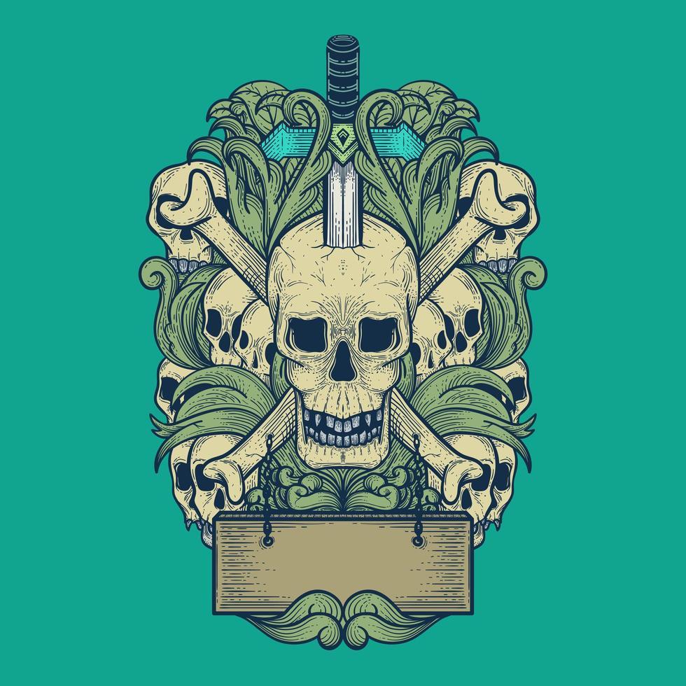 art du crâne avec style de gravure vecteur