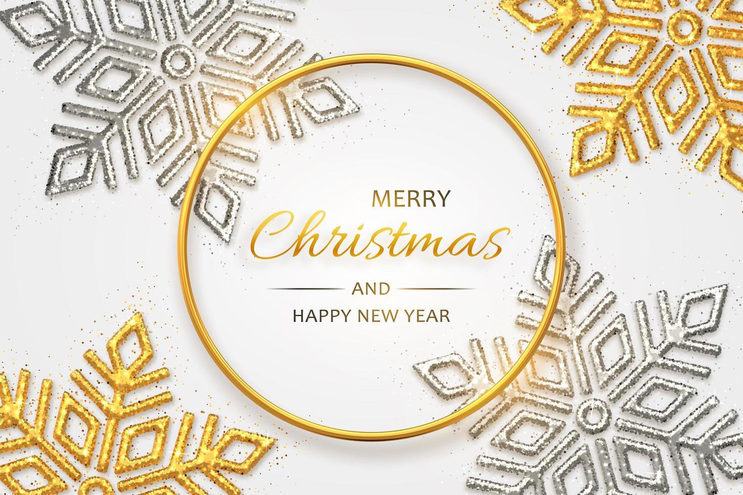 fond de Noël avec des flocons de neige dorés et argentés brillants vecteur