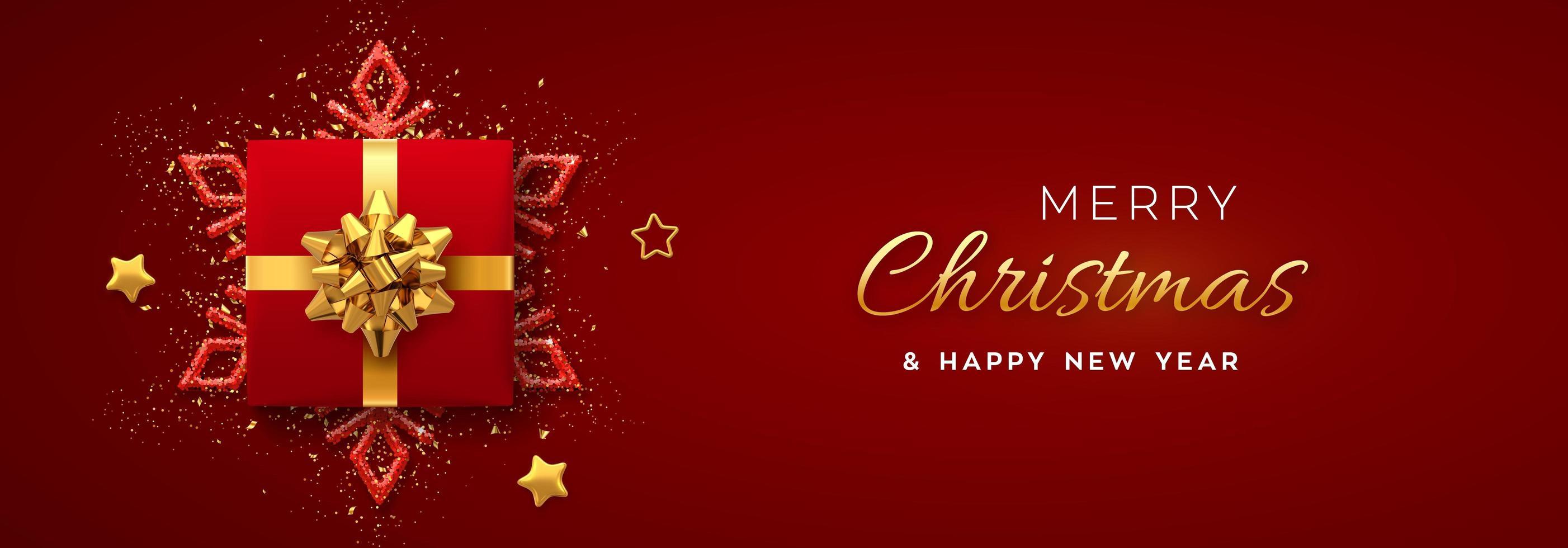 bannière de Noël. coffret cadeau rouge avec noeud doré vecteur