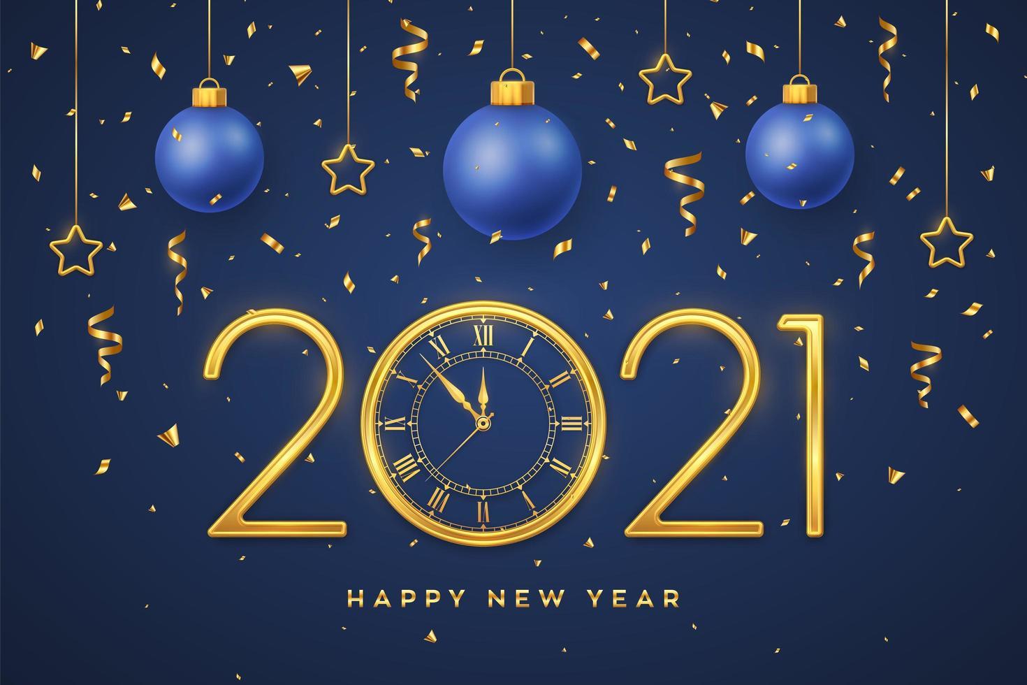 bonne année numéros métalliques dorés 2021 vecteur