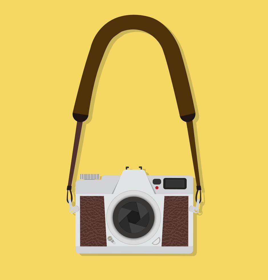 appareil photo suspendu plat style vintage vecteur