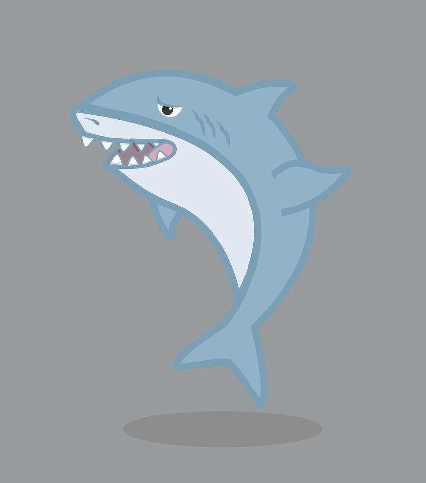 personnage de dessin animé drôle de requin vecteur
