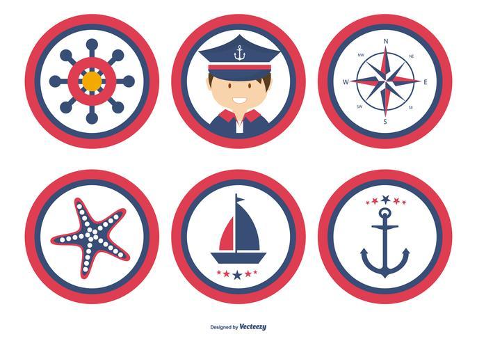 Collection de badges nautiques mignons vecteur
