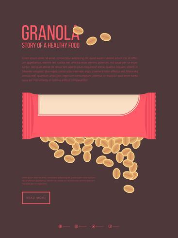 Modèle de publicité mobile Granola vecteur