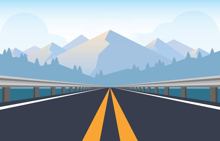 Route de la route avec des barrières de circulation en métal vecteur
