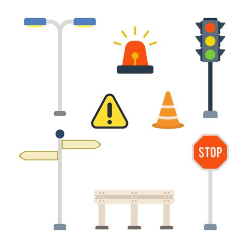 Vecteurs de signe de route plate vecteur