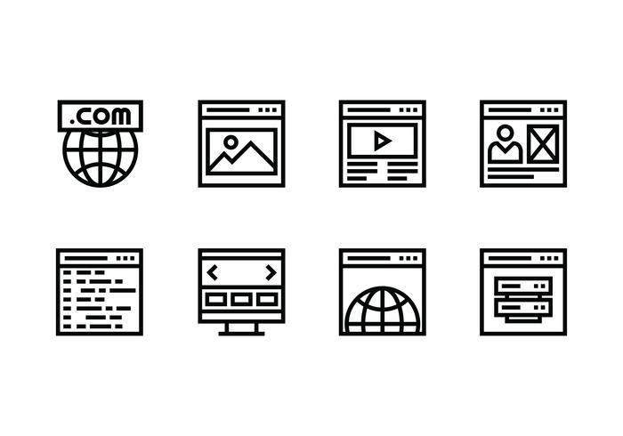 Site Web défini icône linéaire vecteur