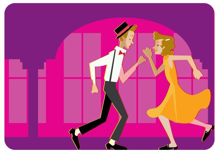 Appuyez sur vecteur de Couple danseur