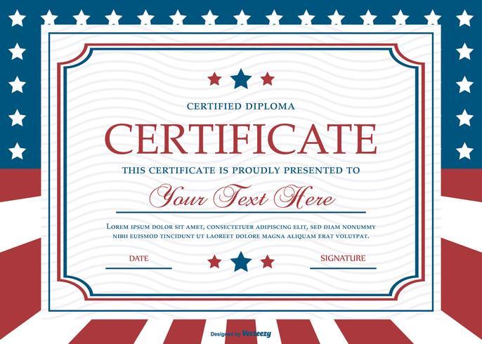Modèle de certificat de style patriotique vecteur
